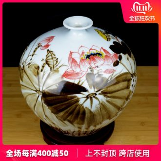 Jingdezhen ceramics hand - made lotus flower vase Chinese style living room TV cabinet porch household adornment handicraft furnishing articles