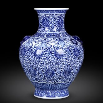 Jingdezhen ceramics archaize manual blue and white porcelain vases, flower arrangement, Chinese style living room home furnishing articles