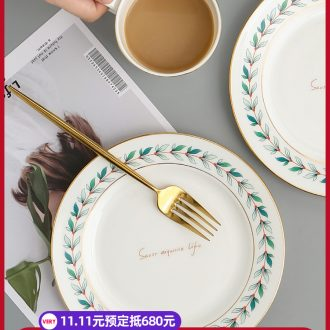 Nordic small pure and fresh and ceramic western dessert plate household food dish creative web celebrity ins wind leaves the breakfast table