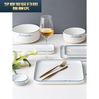 3 BSL Japanese dishes suit household contracted for four ceramic bowl chopsticks plate combination Nordic ins web celebrity tableware to eat