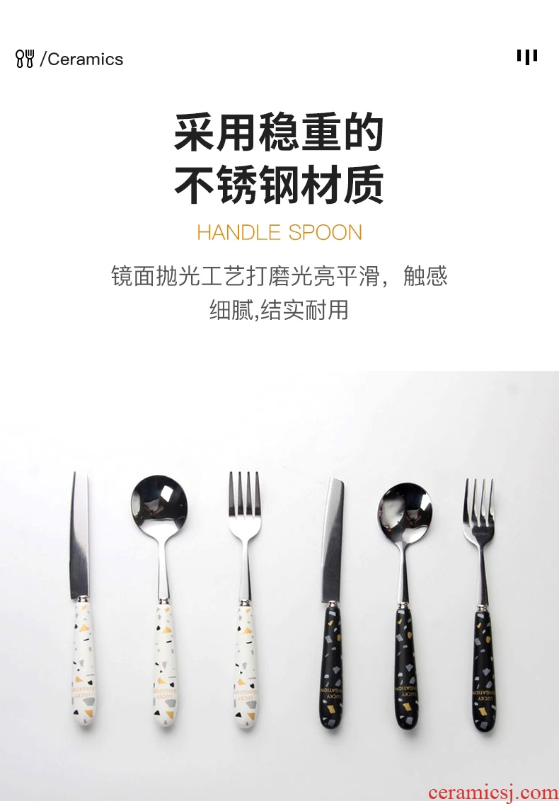 Three pieces of pottery and porcelain handle steak knife and fork spoon, Three - piece household Nordic western - style food tableware suit stainless steel spoon