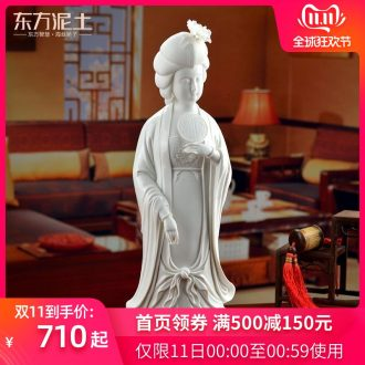 """Oriental clay ceramic beauty furnishing articles dehua white porcelain figures its/15 """"yun tang, ladies D25-02"""