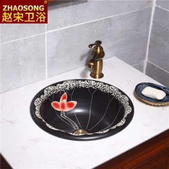 Chinese style restoring ancient ways of song dynasty ceramics taichung basin half embedded lavabo household basin lavatory creative circle