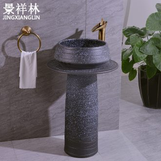 Jingdezhen ceramic art basin lavatory basin column restoring ancient ways suit two - piece three - piece suit