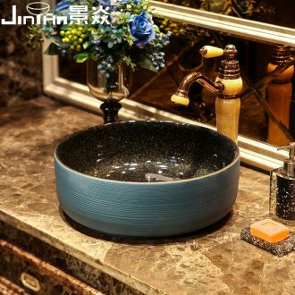 JingYan green curve art stage basin ancient ceramic lavatory toilet lavabo archaize basin on stage
