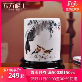Oriental soil hand - made brush pot desktop furnishing articles classical ceramics study the the teacher elder practical high - end gifts