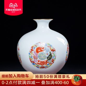 Jingdezhen ceramics archaize floret bottle of flower arranging the sitting room of Chinese style household rich ancient frame crafts pomegranate bottle furnishing articles