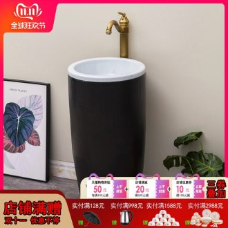 Nordic ceramic floor pillar integrated basin contracted and I lavatory toilet lavabo household balcony