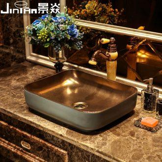 JingYan ash green metal glaze art stage basin rectangle ceramic lavatory move retro basin sink basin