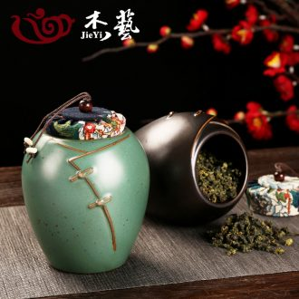 Household ceramic tea pot seal tank large installed coarse pottery small tea tea POTS retro puer tea storage box
