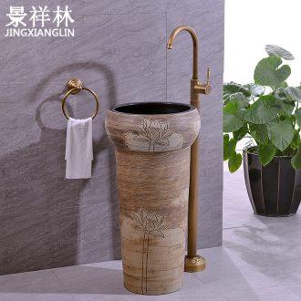 Ceramic column basin pillar lavabo floor art integrated basin toilet lavatory lotus carving