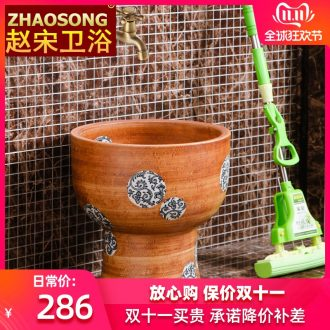 Jingdezhen large round mop pool one blue and white mop mop pool pool balcony for wash cloth mop basin is suing the pool