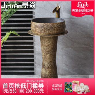 JingYan stone grain pillar basin ceramic column type restoring ancient ways is suing the lavatory sink basin on the floor