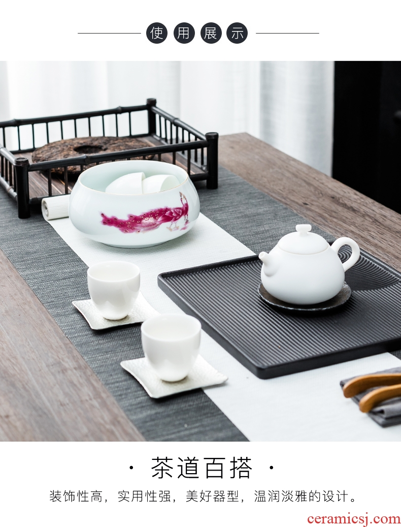 Bin deda blue and white porcelain tea set, tea wash to home writing brush washer accessories for wash cup bowl of tea six gentleman zero with a water jar