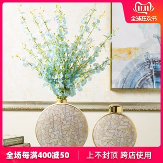 Household act the role ofing is tasted furnishing articles contracted American light ceramic vase key-2 luxury dried flowers flower arrangement soft adornment of I sitting room decoration