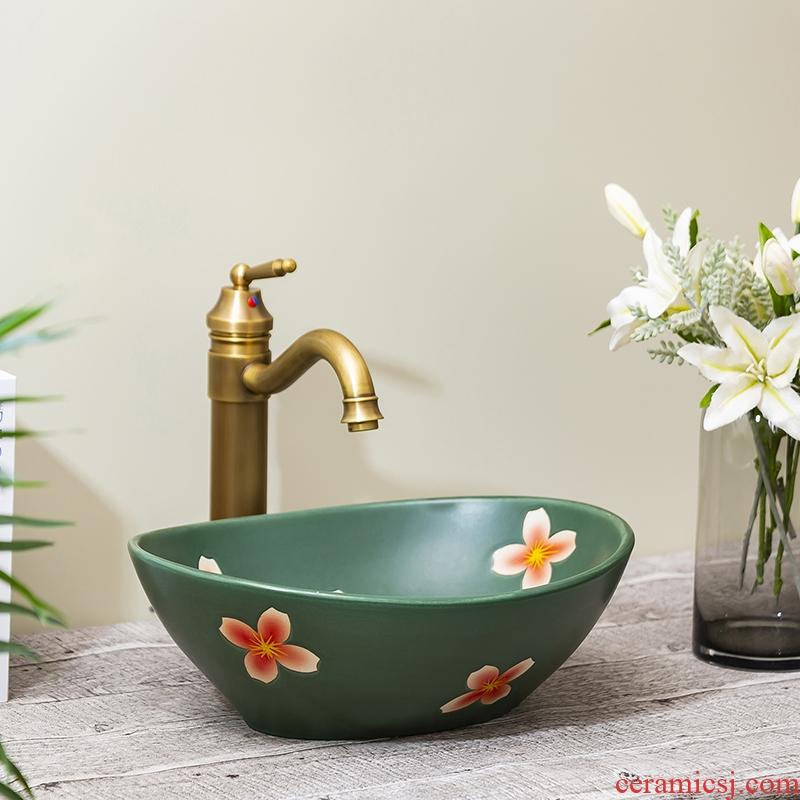 Jingdezhen ceramic toilet stage basin rain spring for wash basin, small family the lavatory toilet lavabo art