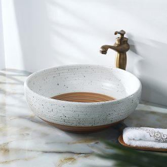 Jingdezhen ceramic white thread under yellow basin sink basin basin stage art fashion contracted basin
