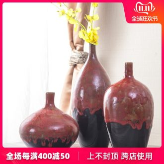 Jingdezhen new Chinese style living room TV cabinet modern furnishing articles red up vase flower arrangement home decoration decoration