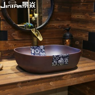 JingYan art stage basin of Chinese style of blue and white porcelain ceramic lavatory household retro basin archaize on the sink