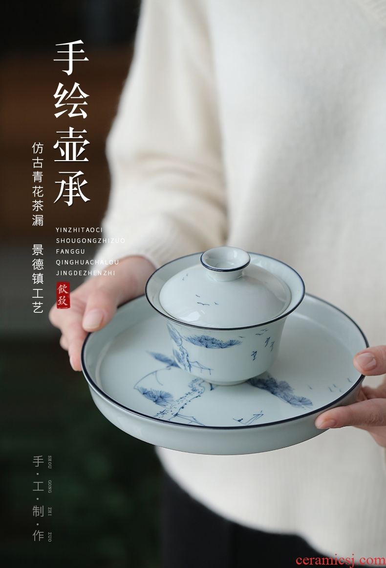Ultimately responds to hand - made porcelain CiHu bearing a pot pad dry terms plate ceramic teapot dried fruit dish of tea tea bearing restoring ancient ways