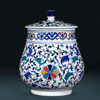 Jingdezhen ceramics pu 'er tea caddy fixings cylinder storage tank receives the new Chinese style living room home decor