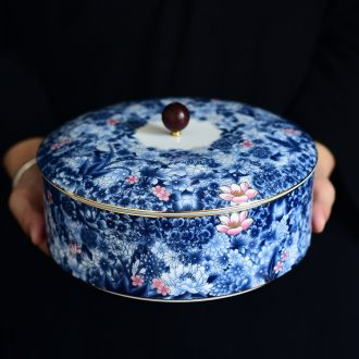 Blue and white ceramics receive full puer tea box caddy fixings large tea cake box wake tea pot tea boxes to restore ancient ways