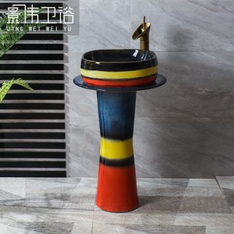 JingWei courtyard pillar basin ceramic one pillar type lavatory floor lavabo vertical sink is suing