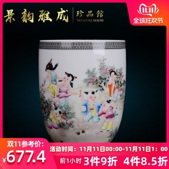Jingdezhen ceramic household decorative dried flowers, flower vase is placed the new Chinese style living room porch porcelain arts and crafts