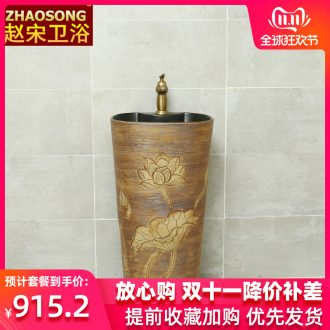 One - piece pillar of restoring ancient ways of song dynasty ceramics basin domestic large oval sink pillar type lavatory hotel home