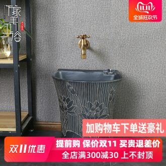 Retro ceramic wash mop pool mop pool one floor balcony toilet household automatic mop basin of water