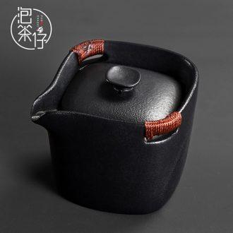 Small black ceramic teapot tea pot of kung fu tea set household restoring ancient ways is a single hand grasp pot of coarse pottery Japanese fair keller