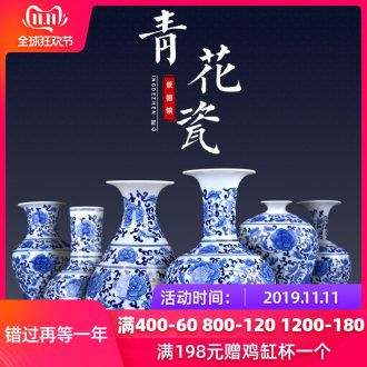 Jingdezhen ceramics antique hand - made of blue and white porcelain vase furnishing articles furnishing articles flower arrangement sitting room TV ark, home decoration