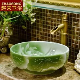 European stage art basin to the trumpet on the ceramic toilet lavabo circular basin basin 35 cm