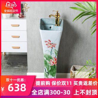 Chinese pottery and porcelain pillar type lavatory floor pillar lavabo basin integrated basin bathroom home column