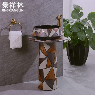 Contracted style restoring ancient ways pillar two - piece three - piece suit of jingdezhen lavabo ceramics art basin sinks