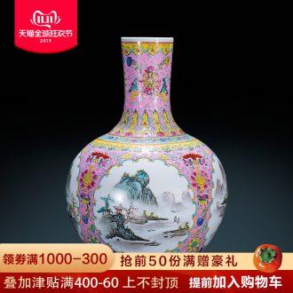 Antique hand - made jingdezhen ceramics powder enamel vase landing Chinese style classical decoration flower arranging furnishing articles large living room