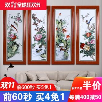 Jingdezhen ceramic porcelain plate painting landscape painting of flowers and birds painting four screen home sitting room sofa setting wall decoration