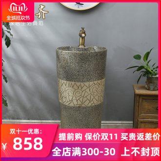 Post type lavatory jingdezhen ceramic basin one - piece art pillar lavabo vertical landing platform