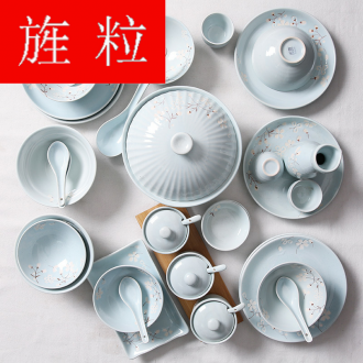 Continuous grain 【 】 sakura bamboo shoot 4 time tableware suit Japanese dishes suit household combination dishes ceramics
