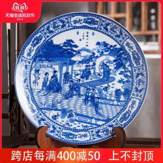 Jingdezhen ceramics furnishing articles home decorations hanging dish handicraft wine blue - and - white twelve gold hair pin decorative plate