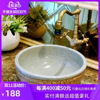 The stage basin crack glaze ceramic contracted art basin European toilet lavabo, circular - carving crack