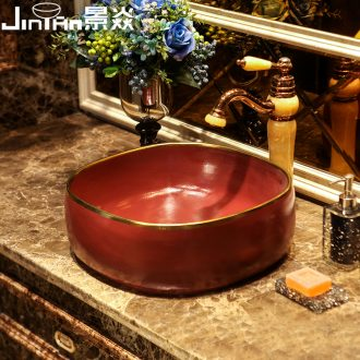 JingYan red up phnom penh art stage basin European ceramic lavatory toilet lavabo household basin on stage