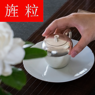 Continuous grain of checking silver pot of jingdezhen ceramic kung fu tea sets teapot household little teapot single pot gift box