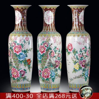Ceramic floor big vase hand - made pastel peony sitting room adornment porcelain bottle study porch large furnishing articles