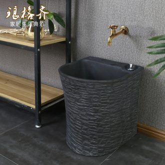 Ceramic mop pool European - style matte enrolled black stone basin of large household bathroom floor balcony to mop pool tank