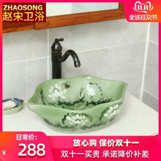 Contracted Europe type ceramic stage basin of household toilet lavabo of new Chinese style restoring ancient ways basin is the basin that wash a lotus