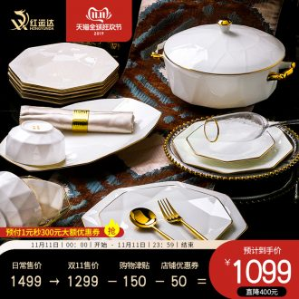 Jingdezhen cutlery set dishes home western - style key-2 luxury high - grade creative contracted ipads bowls up phnom penh dish plate of gifts