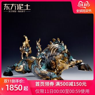 Oriental clay ceramic artisans Zhang Chang the teacher Lin, a bronze color series art furnishing articles/vulcan cattle