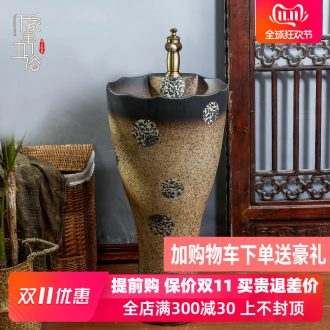 One pillar lavabo ou for wash One toilet lavatory ceramic art basin to the balcony column