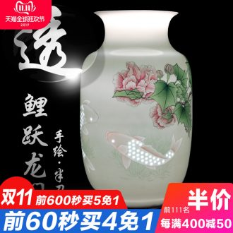 Jingdezhen ceramic fish hand knife clay its vases, flower arrangement of Chinese style home sitting room adornment penjing collection